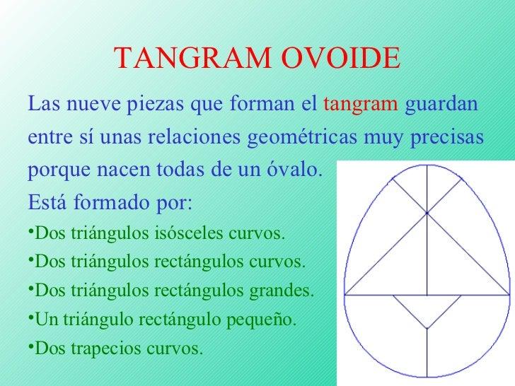 TANGRAM OVOIDE <ul><li>Las nueve piezas que forman el  tangram  guardan entre sí unas relaciones geométricas muy precisas ...