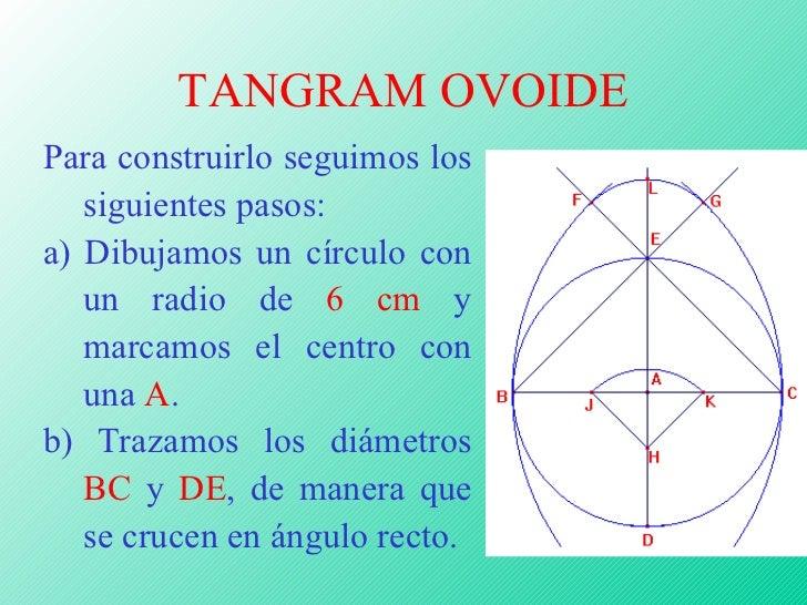 TANGRAM OVOIDE Para construirlo seguimos los siguientes pasos: a) Dibujamos un círculo con un radio de  6 cm  y marcamos e...
