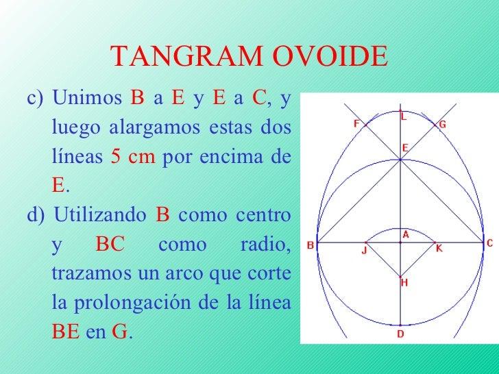 TANGRAM OVOIDE c) Unimos  B  a  E  y  E  a  C , y luego alargamos estas dos líneas  5 cm  por encima de  E . d) Utilizando...