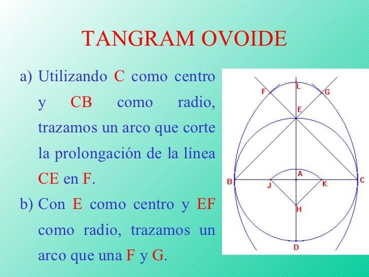 TANGRAM OVOIDE <ul><li>Utilizando  C  como centro y  CB  como radio, trazamos un arco que corte la prolongación de la líne...