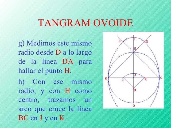 TANGRAM OVOIDE <ul><ul><ul><ul><ul><li>g) Medimos este mismo radio desde  D  a lo largo de la línea  DA  para hallar el pu...