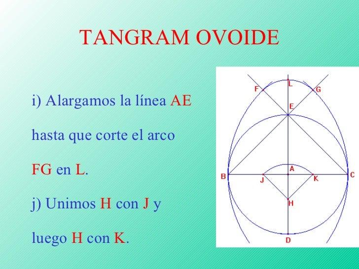 TANGRAM OVOIDE <ul><ul><ul><ul><ul><li>i) Alargamos la línea  AE  hasta que corte el arco  FG  en  L . </li></ul></ul></ul...