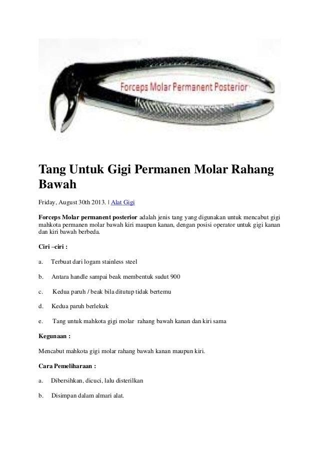 Tang Untuk Gigi Permanen Molar Rahang Bawah Friday, August 30th 2013. | Alat Gigi Forceps Molar permanent posterior adalah...