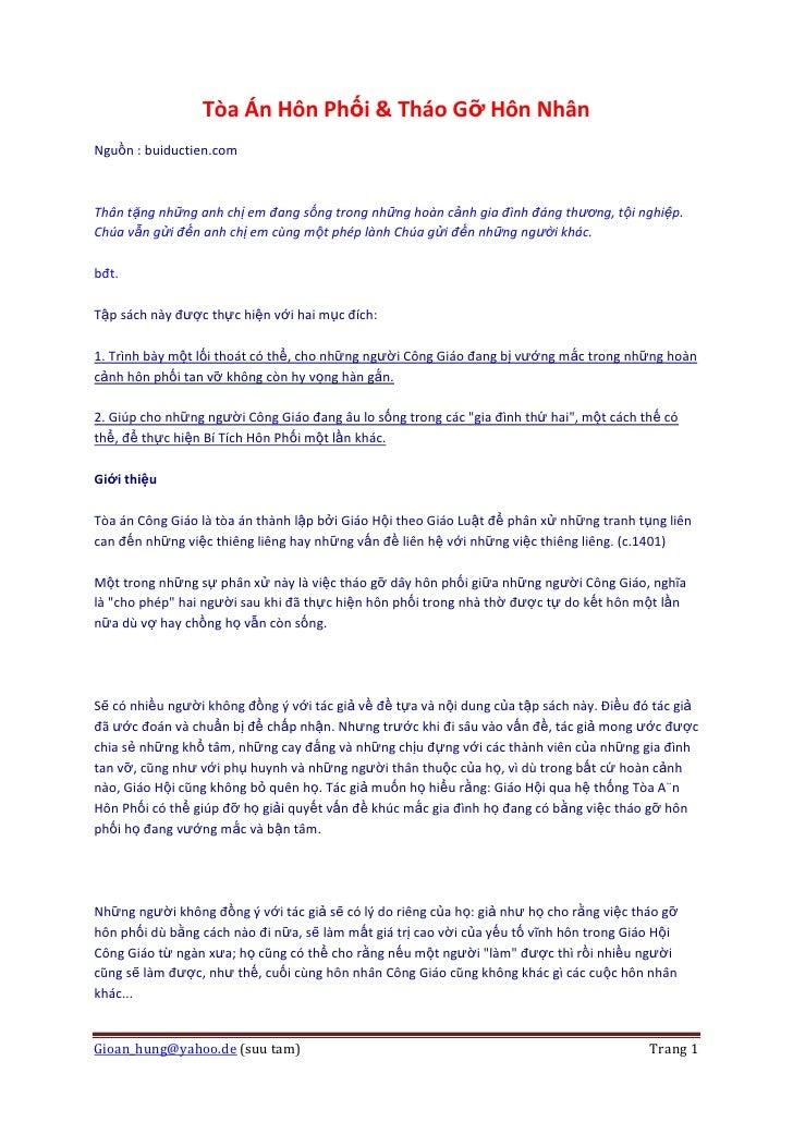 Tòa Án Hôn Phối & Tháo Gỡ Hôn Nhân Nguồn : buiductien.com    Thân tặng những anh chị em đang sống trong những hoàn cảnh gi...
