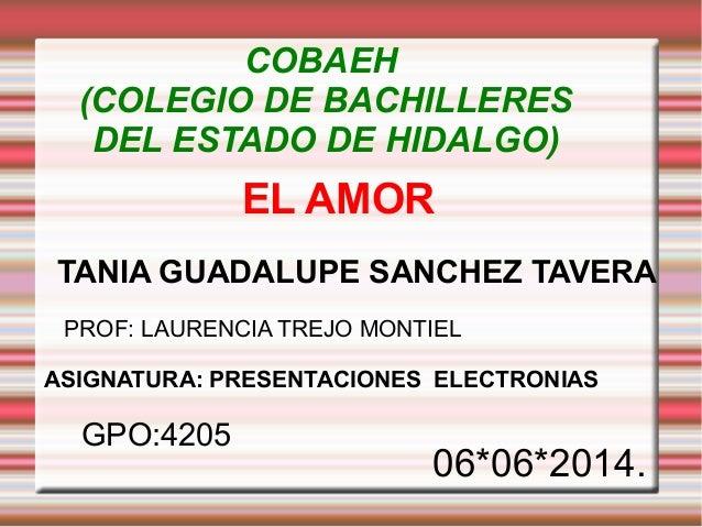 EL AMOR TANIA GUADALUPE SANCHEZ TAVERA GPO:4205 06*06*2014. COBAEH (COLEGIO DE BACHILLERES DEL ESTADO DE HIDALGO) PROF: LA...