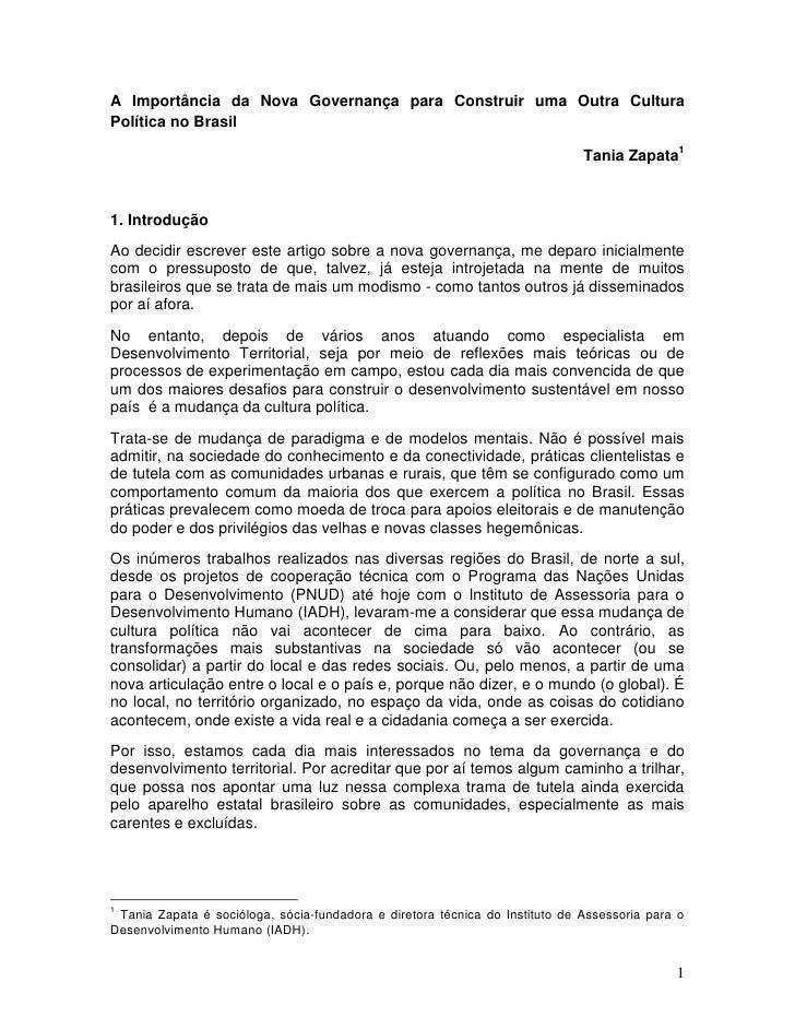 A Importância da Nova Governança para Construir uma Outra CulturaPolítica no Brasil                                       ...