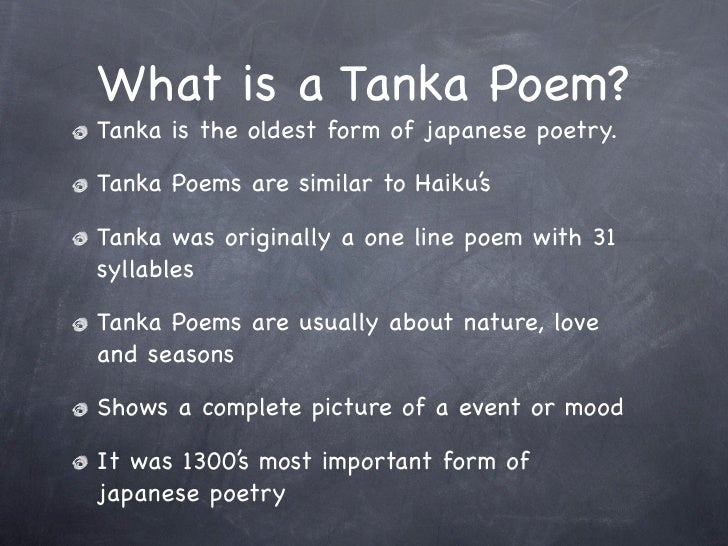 Examples of tanka poems.