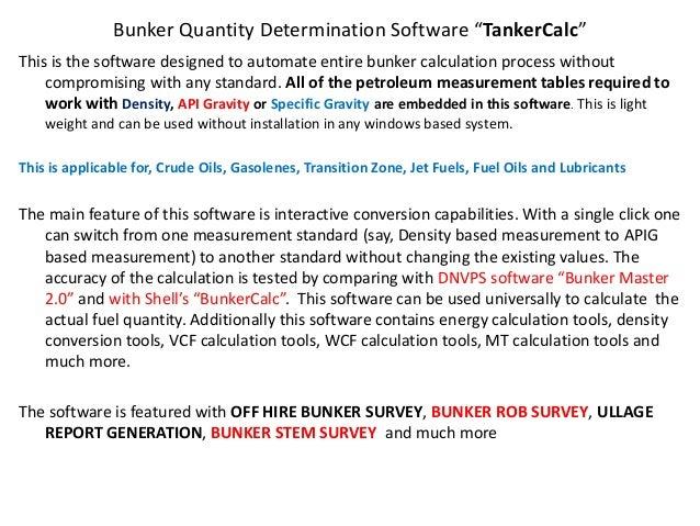 TankerCalc for Bunker Surveyors