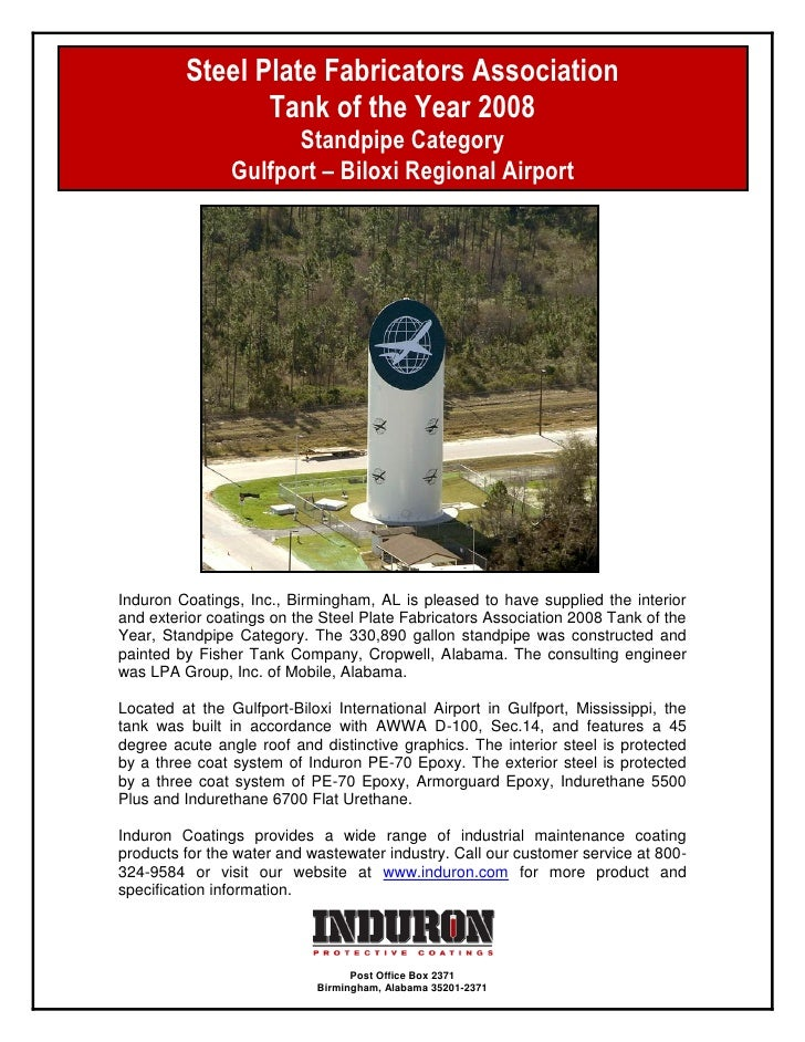 Steel Plate Fabricators Association                Tank of the Year 2008                      Standpipe Category          ...