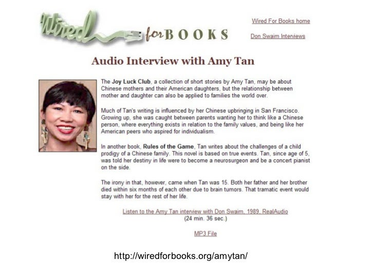Rules of the Game by Amy Tan - Vera's Courses