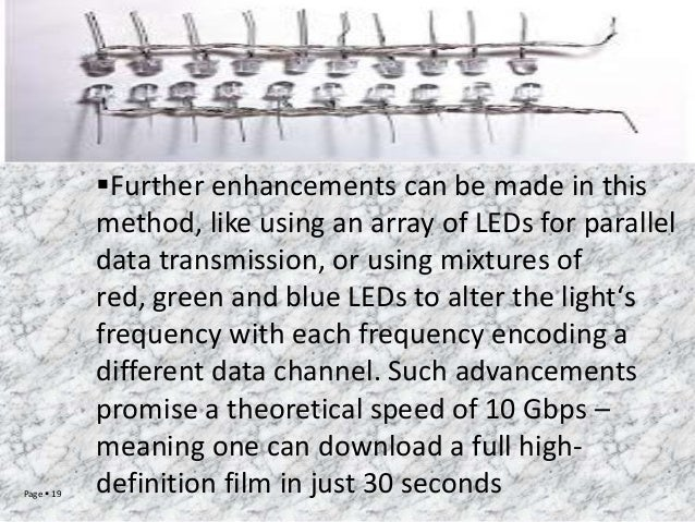 Page  19  Further enhancements can be made in this method, like using an array of LEDs for parallel data transmission, o...