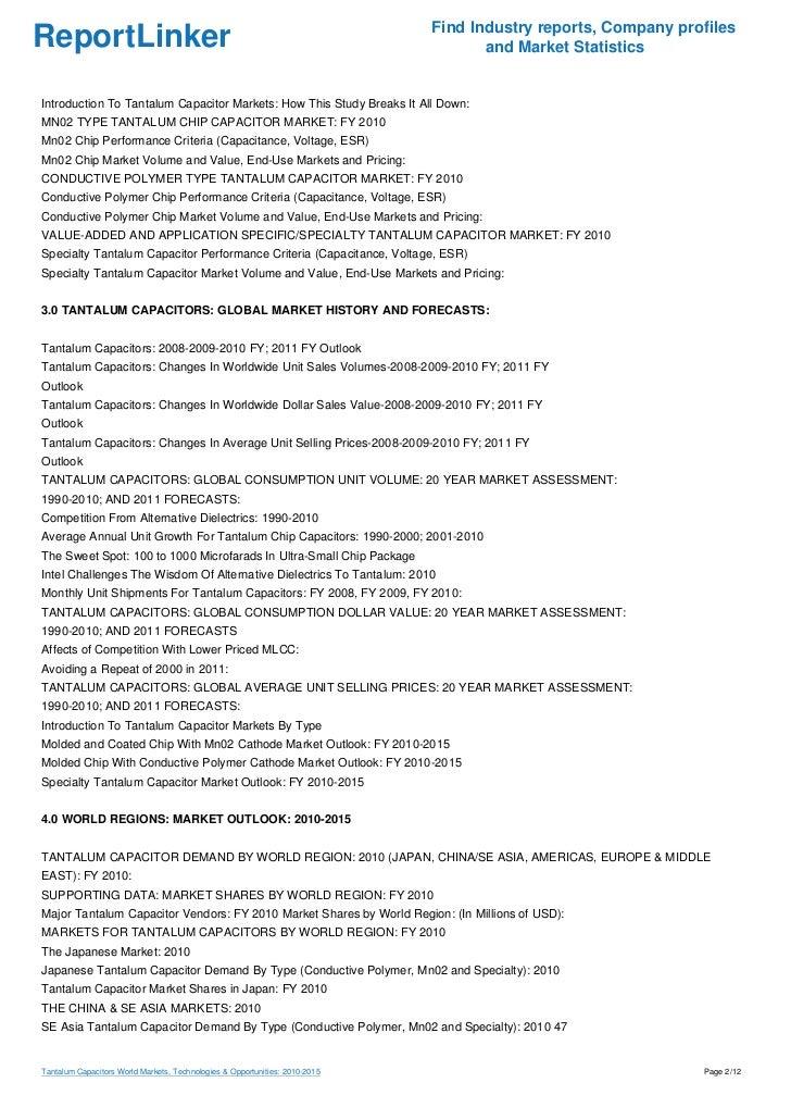 Tantalum Capacitors World Markets, Technologies & Opportunities: 2010-2015 Slide 2