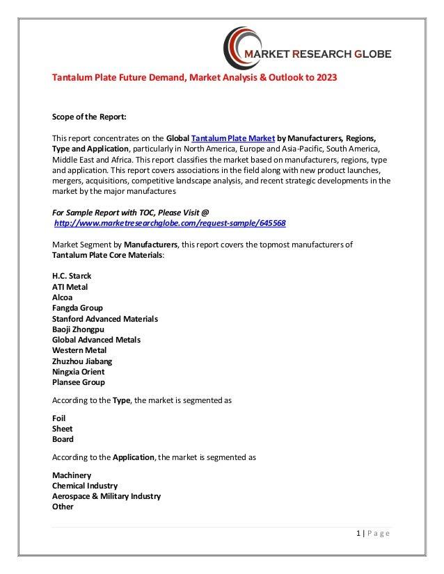 Tantalum plate future demand, market analysis &