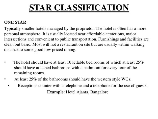 Star Hotel Rating Criteria In India