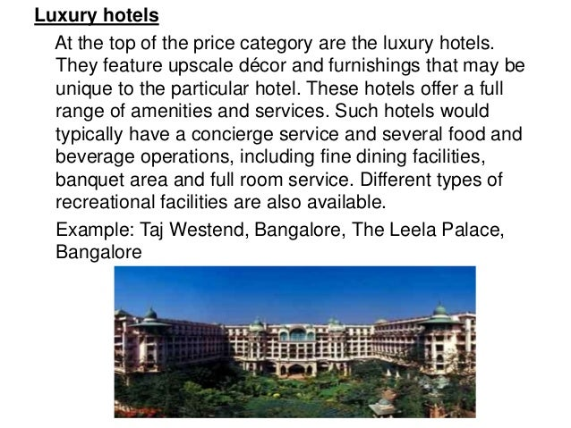 Classification Of Hotels Facilities Services And Location