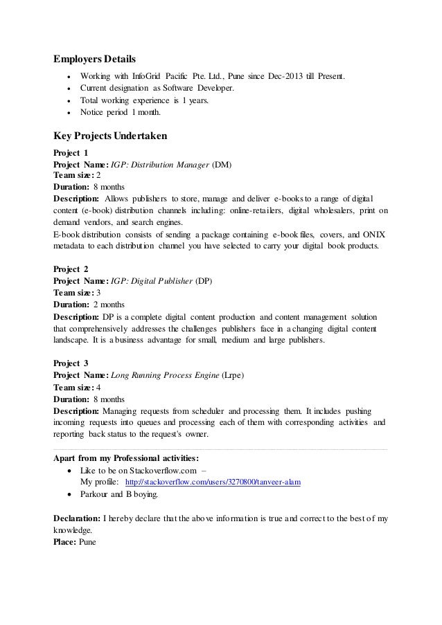 resume notice period a good owner manual example