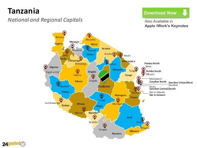 Tanzania Map Editable PowerPoint Slides - Tanzania map download