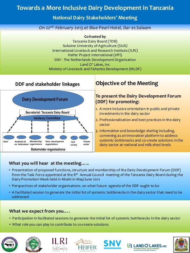Towards a More Inclusive Dairy Development in Tanzania                            National Dairy Stakeholders' Meeting    ...