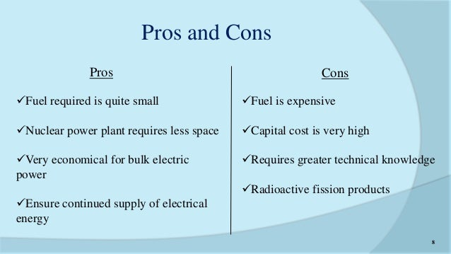 pros and cons of nuclear energy Nuclear energy: the good, the bad, and the debatable learn more about nuclear technology, its benfits, and its dangers classroom material written by: dr lana aref.