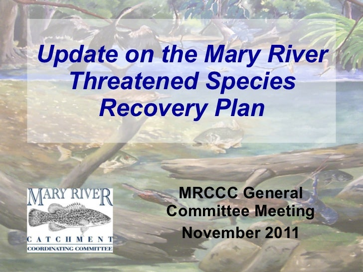 Update on the Mary River Threatened Species Recovery Plan MRCCC General Committee Meeting November 2011