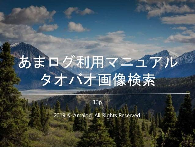 あまログ利用マニュアル タオバオ画像検索 2019 © Amalog. All Rights Reserved. 13p