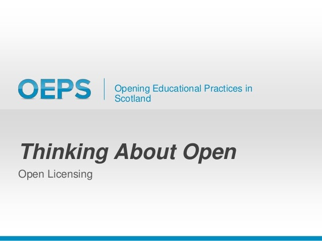 Why use open licenses? • Enables you to share effectively and facilitate reuse; • Helps tell others how you'd like your ma...
