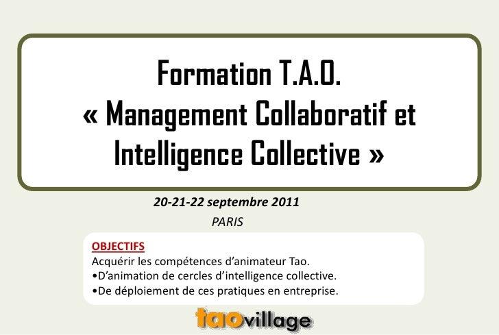 Formation T.A.O. «Management Collaboratif et Intelligence Collective»<br />                        20-21-22 septembre 2...