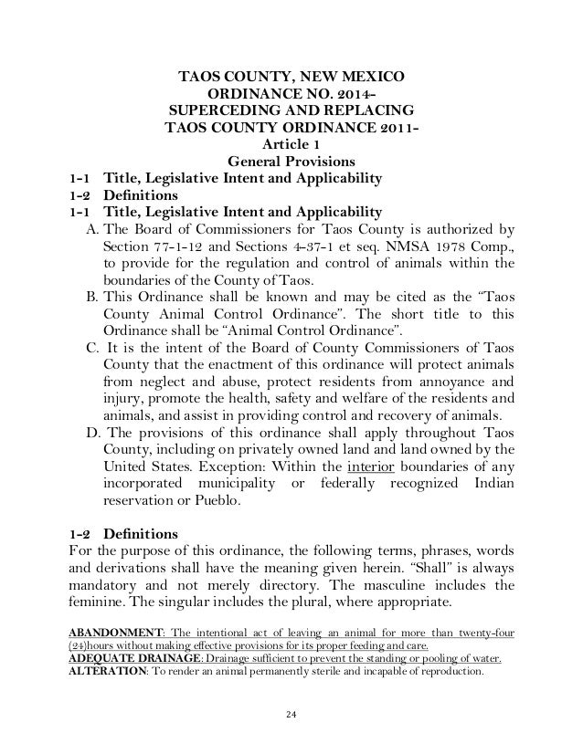 24   TAOS COUNTY, NEW MEXICO ORDINANCE NO. 2014- SUPERCEDING AND REPLACING TAOS COUNTY ORDINANCE 2011- Article 1 Gener...