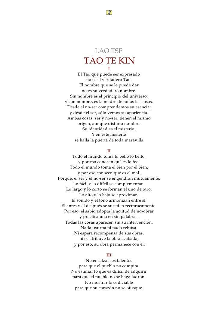 Libros            de la Tradición                    LAO TSE              TAO TE KIN                             I        ...