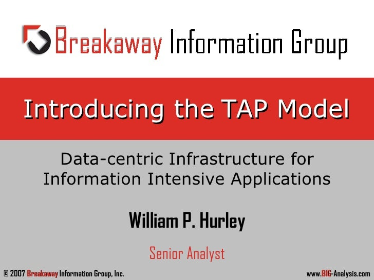Introducing the TAP Model Data-centric Infrastructure for Information Intensive Applications