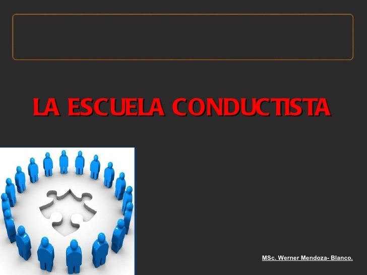 LA ESCUELA CONDUCTISTA                MSc. Werner Mendoza- Blanco.