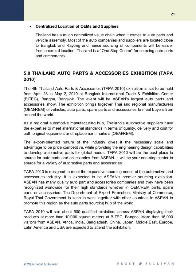 Thailand Auto Parts & Accessories (TAPA 2010) - Advantages of Sourcin…