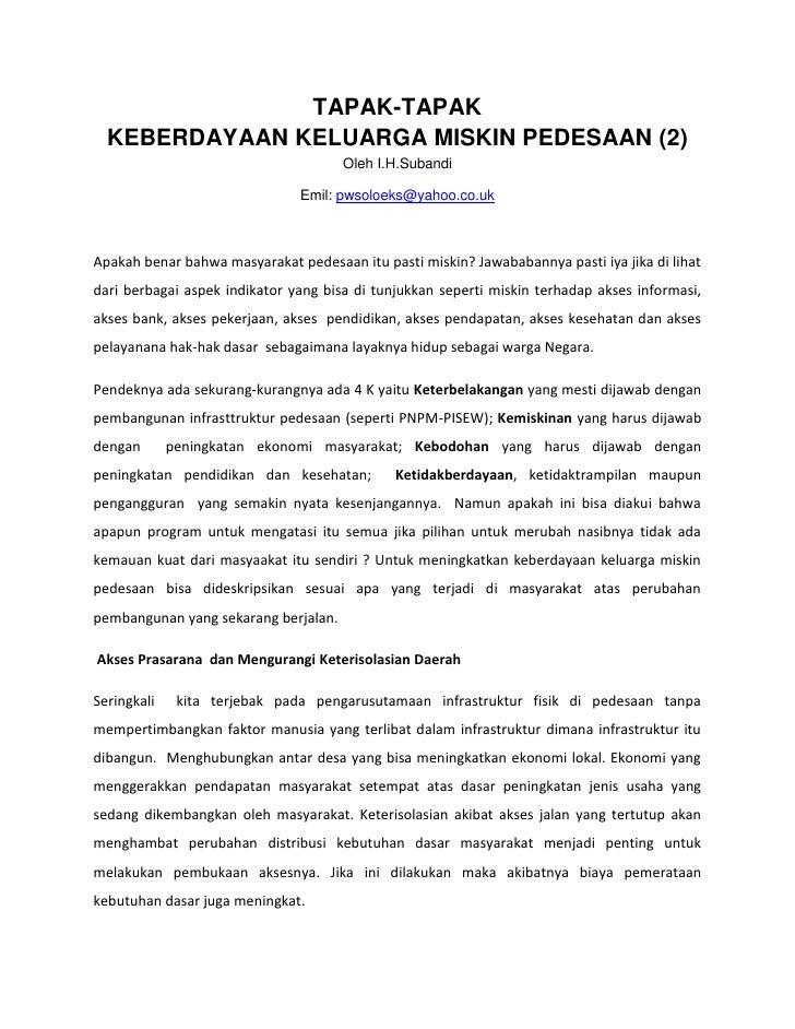 TAPAK-TAPAK   KEBERDAYAAN KELUARGA MISKIN PEDESAAN (2)                                       Oleh I.H.Subandi             ...