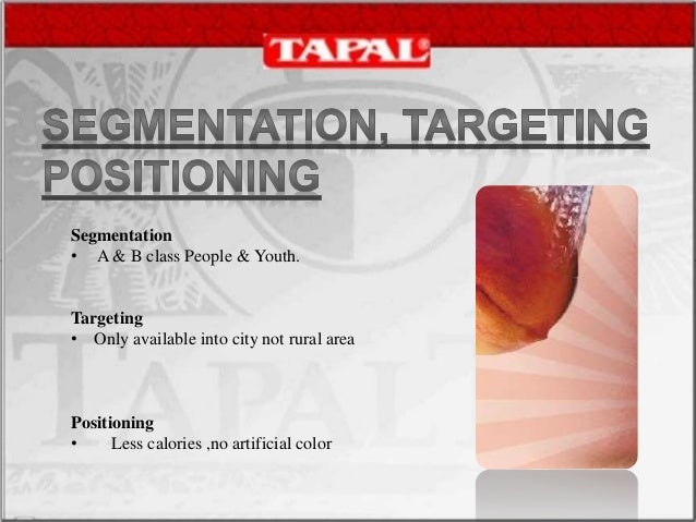 """marketing segmentation for tapal Concentration of marketing energy (or force) is the essence of all marketing strategy, and market segmentation is the conceptual tool to help achieve this focus before discussing psychographic or lifestyle segmentation (which is what most of us mean when using the term """"segmentation""""), let's review other types of market segmentation."""