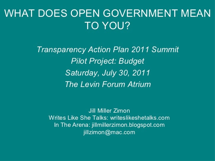 WHAT DOES OPEN GOVERNMENT MEAN TO YOU? Transparency Action Plan 2011 Summit Pilot Project: Budget Saturday, July 30, 2011 ...