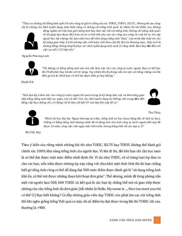 """ĐÁNH VẦN TIẾNG ANH ENPRO 3 """"Thực ra chứng chỉ tiếng Anh quốc tế nào cũng có giá trị riêng của nó, TỎỆIC, TOEFL, IELTS... N..."""