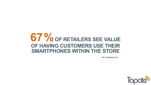 67 % OF RETAILERS SEE VALUE  OF HAVING CUSTOMERS USE THEIR  SMARTPHONES WITHIN THE STORE  RSR RESEARCH 2011