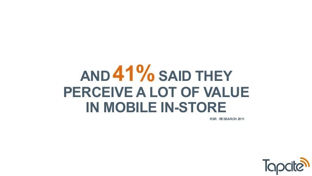 AND 41% SAID THEY  PERCEIVE A LOT OF VALUE  IN MOBILE IN-STORE  RSR RESEARCH 2011