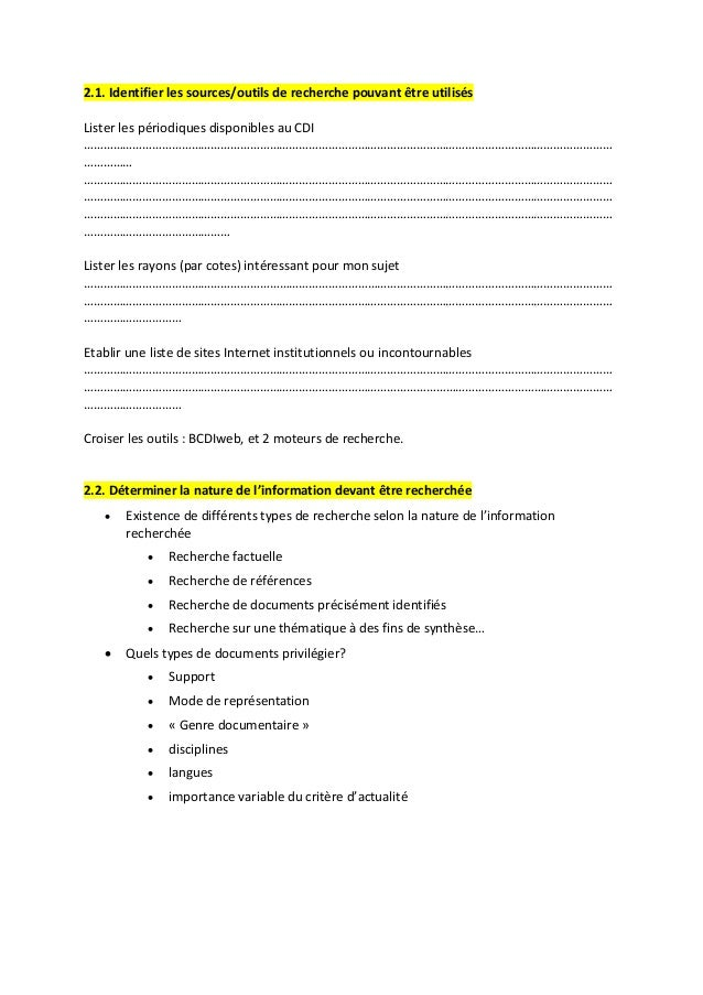 2.1. Identifier les sources/outils de recherche pouvant être utilisés  Lister les périodiques disponibles au CDI  ……………………...