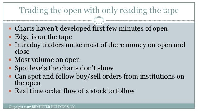 Tape reading trading strategy