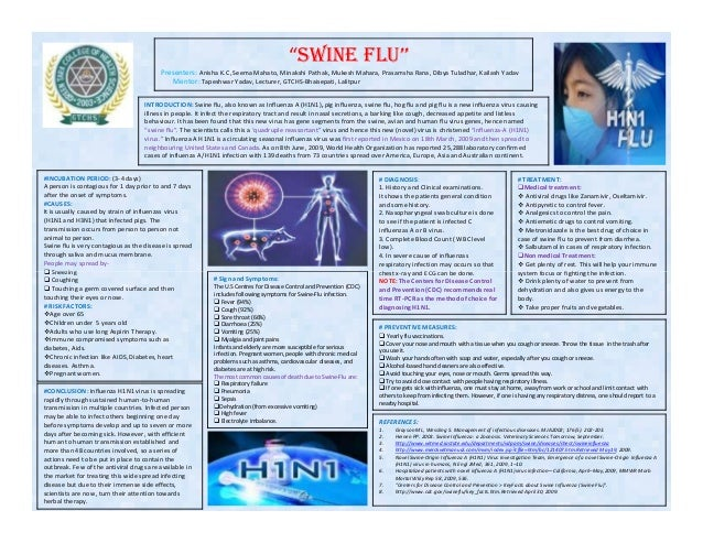INTRODUCTION: Swine flu, also known as Influenza A (H1N1), pig influenza, swine flu, hog flu and pig flu is a new influenz...