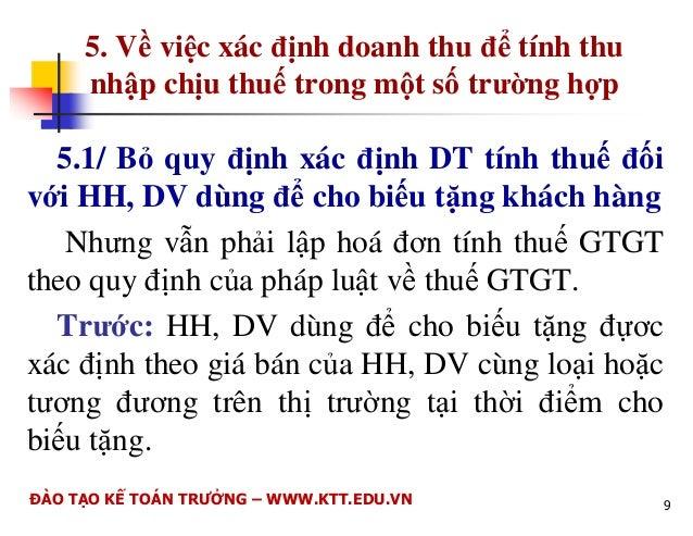 1. V phng pháp tính thu TNDN  1.1/ B sung mt s i tng có hot ng KD có thu  nhp chu thu  TNDN mà các n v này xác nh c DT ...