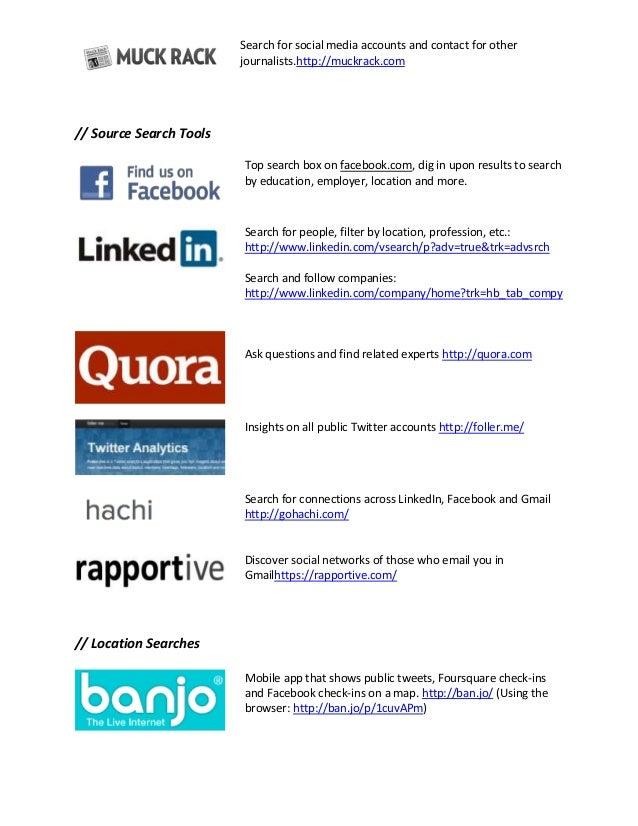 Social Media for Investigations Tools Slide 2