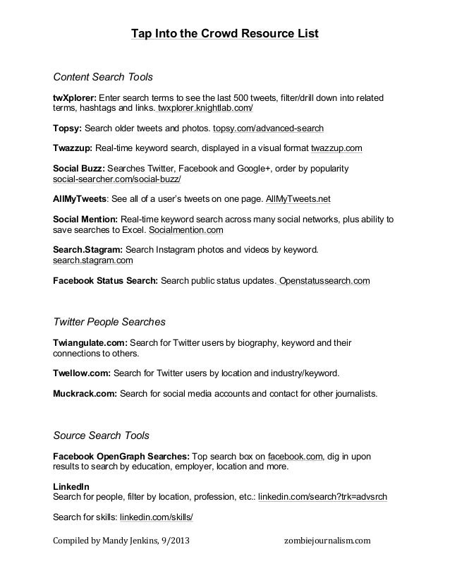 Compiled  by  Mandy  Jenkins,  9/2013      zombiejournalism.com   Tap Into the Crowd Resource List Content S...