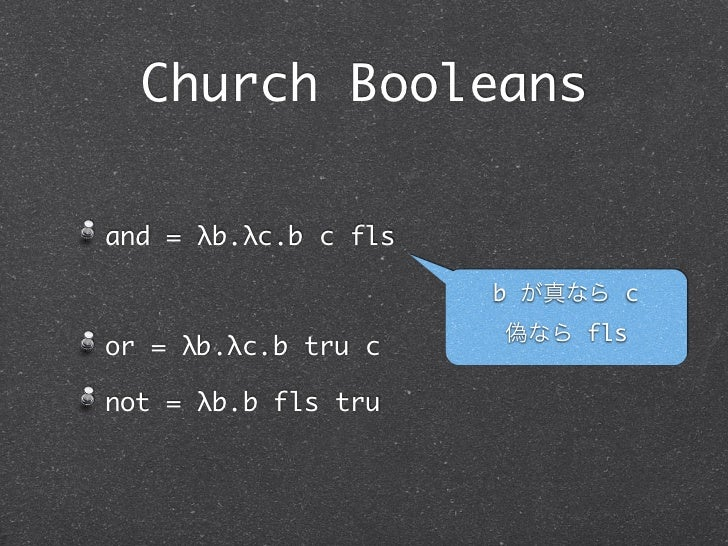 Church Booleansand = λb.λc.b c fls                      b が真なら c                      偽なら flsor = λb.λc.b tru cnot = λb.b ...