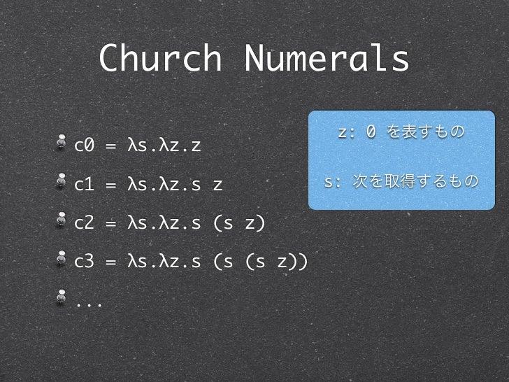 Church Numerals                          z: 0 を表すものc0 = λs.λz.zc1 = λs.λz.s z           s: 次を取得するものc2 = λs.λz.s (s z)c3 = ...