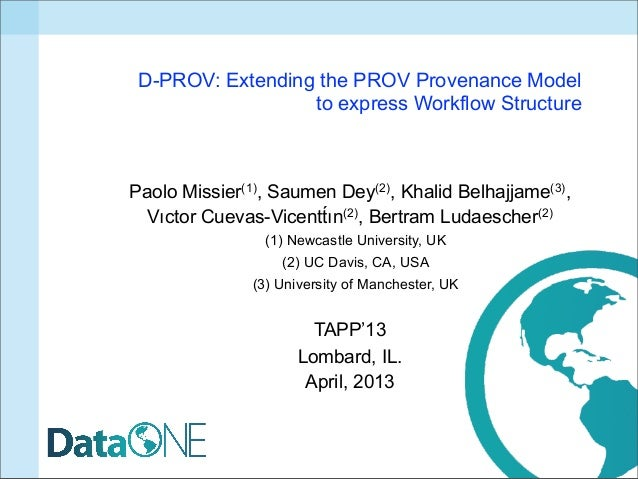 D-PROV: Extending the PROV Provenance Model                  to express Workflow StructurePaolo Missier(1), Saumen Dey(2),...