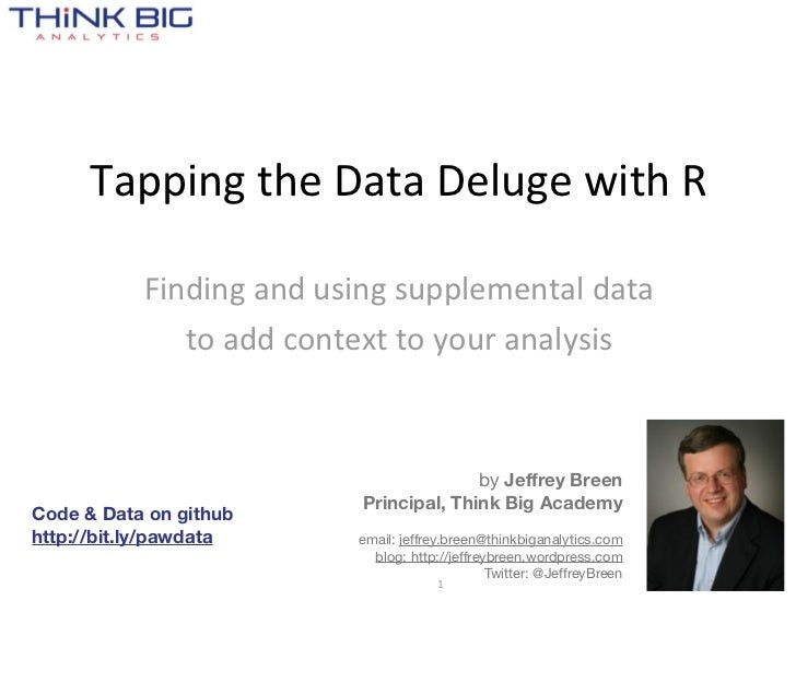 Tapping  the  Data  Deluge  with  R           Finding  and  using  supplemental  data                to  add  context  to ...