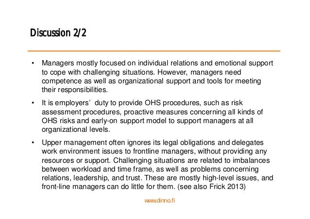 Discussion 2/2 • Managers mostly focused on individual relations and emotional support to cope with challenging situations...