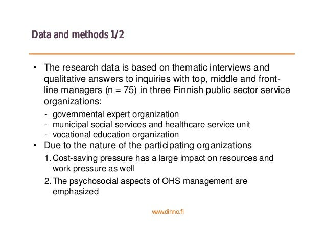 Data and methods 1/2 • The research data is based on thematic interviews and qualitative answers to inquiries with top, mi...